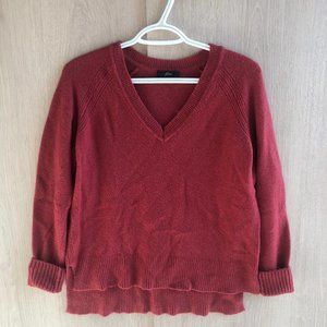 J. Crew | Red V-Neck Sweater In Yarn Style H3911